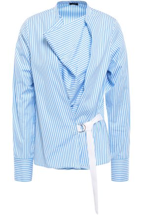 JOSEPH Arran wrap-effect striped cotton-poplin top