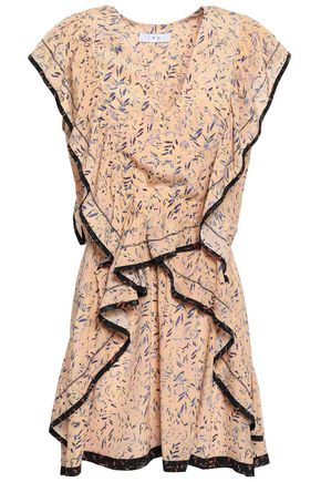 IRO Jicka ruffled printed silk crepe de chine mini dress