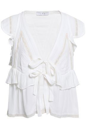IRO Brone tie-front lace-trimmed ruffled crepe blouse