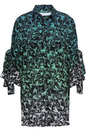 IRO Tie-detailed printed cotton shirt
