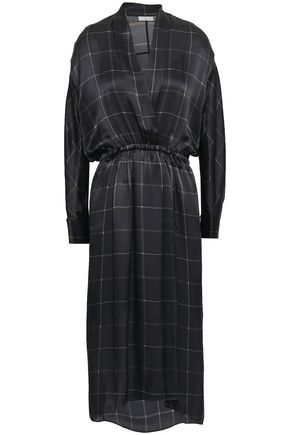 VINCE. Wrap-effect checked silk-satin midi dress