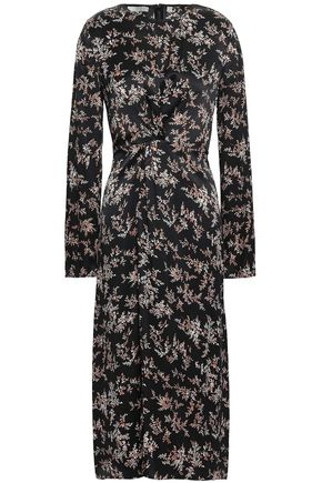 VINCE. Floral-print silk-satin midi dress