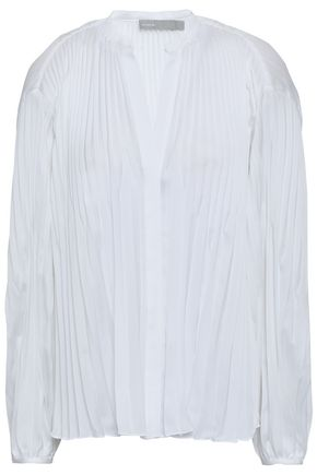 VINCE. Pleated voile blouse