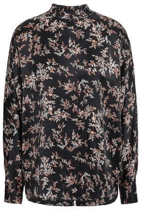 VINCE. Printed silk-satin blouse