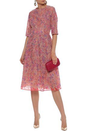 CAROLINA HERRERA Flared appliquéd organza dress