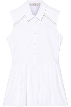 CAROLINA HERRERA Crochet-trimmed cotton-blend peplum top