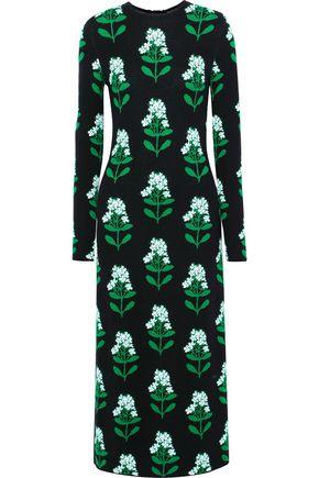 CAROLINA HERRERA Open-back wool-blend floral-jacquard midi dress