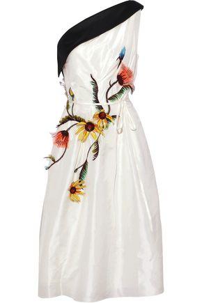 CAROLINA HERRERA One-shoulder floral-appliquéd silk-taffeta dress