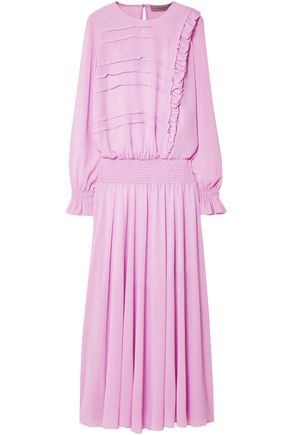 PREEN LINE Salome ruffle-trimmed shirred georgette maxi dress