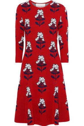 CAROLINA HERRERA Flared wool-blend floral-jacquard dress