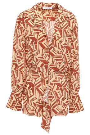 CHLOÉ Wrap-effect printed silk-crepe shirt