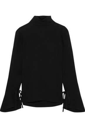 CAROLINA HERRERA Bow-detailed cutout silk turtleneck blouse