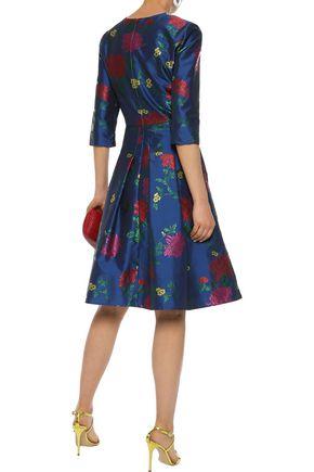 CAROLINA HERRERA Pleated floral-jacquard dress