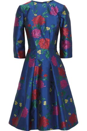 CAROLINA HERRERA Pleated floral-jacquard dress