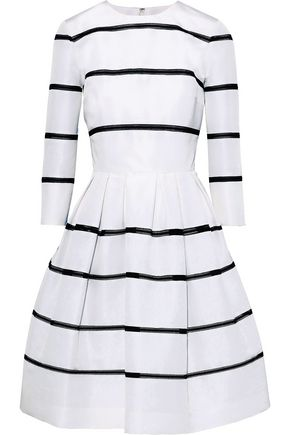 CAROLINA HERRERA Flared lattice-trimmed silk-faille dress