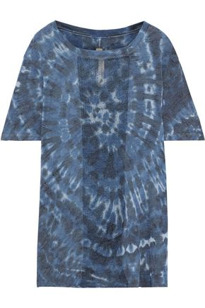 RAQUEL ALLEGRA Burnout-paneled tie-dyed cotton-blend jersey T-shirt