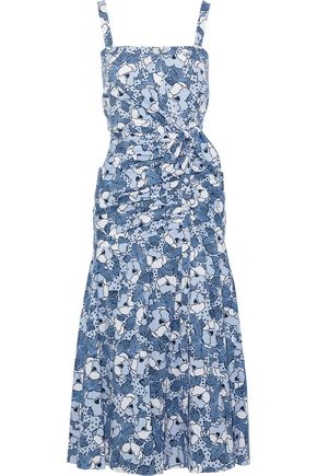 VERONICA BEARD Marena tie-front printed cotton-poplin midi dress