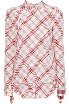 VERONICA BEARD Isabel embroidered checked cotton-blend top