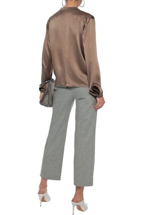 VINCE. Tie-neck silk-satin blouse