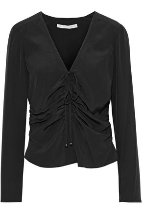 VERONICA BEARD Maisle ruched silk crepe de chine blouse