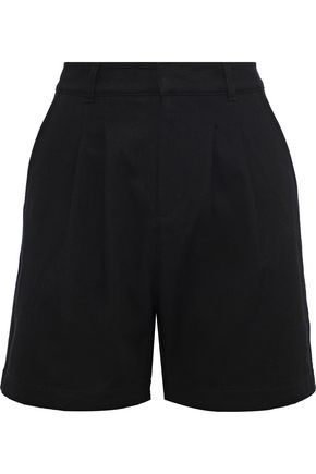 ANINE BING Pleated cotton-twill shorts