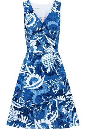 OSCAR DE LA RENTA Flared printed stretch-cotton dress