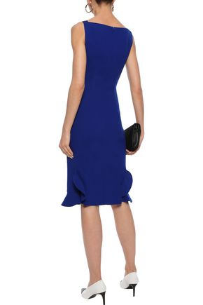 OSCAR DE LA RENTA Ruffle-trimmed wool-blend stretch-crepe dress