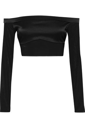 KIKI DE MONTPARNASSE Cage cropped off-the-shoulder chiffon-paneled silk-blend satin top