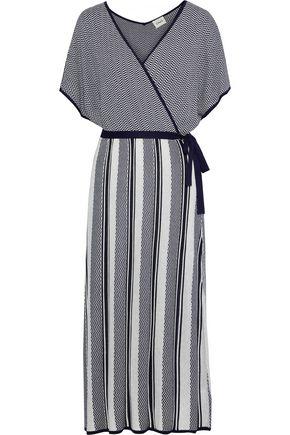 CHARLI Bay wrap-effect metallic intarsia-knit midi dress