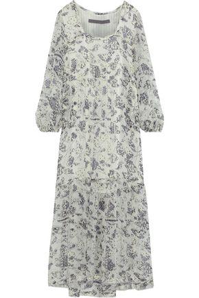 RAQUEL ALLEGRA Gathered printed silk-georgette midi dress
