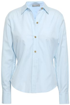 VINCE. Pleated bow-detailed cotton-poplin shirt