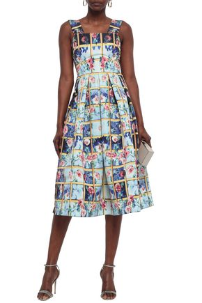 Mary Katrantzou Woman Pleated Printed Faille Midi Dress Sky Blue