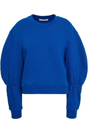 TIBI Gathered cotton-fleece sweatshirt