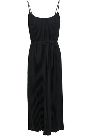 VINCE. Pleated crepe de chine midi dress