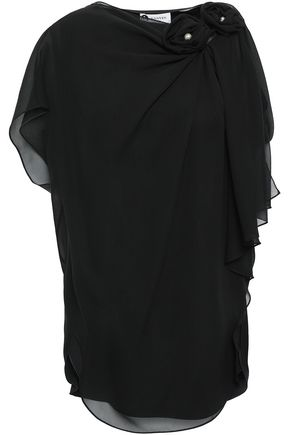 LANVIN Draped floral-appliquéd silk-chiffon top