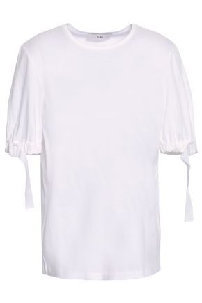 TIBI Buckled cotton-jersey top