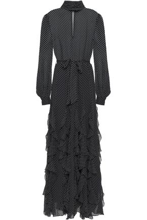 JOIE Ruffled polka-dot silk-georgette maxi dress