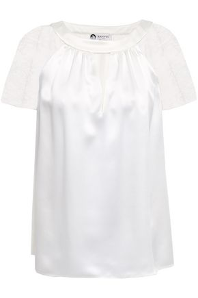 LANVIN Lace-paneled silk-satin top