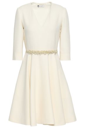 LANVIN Faux pearl-embellished wool dress