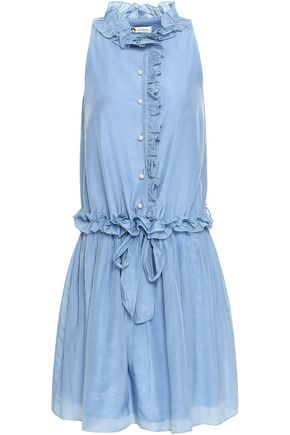 LANVIN Ruffled cotton and silk-blend voile dress