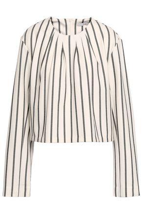 TIBI Striped printed twill top