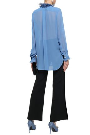 LANVIN Pussy-bow embellished silk-georgette and satin blouse