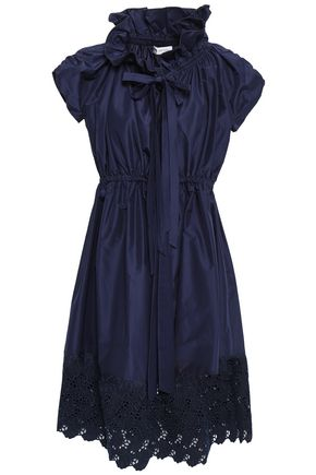 LANVIN Broderie anglaise cotton and silk-blend dress