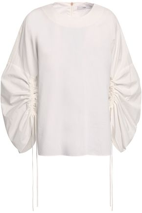 TIBI Ruched cotton-poplin top