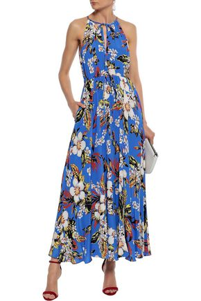 DIANE VON FURSTENBERG Gathered floral-print silk crepe de chine maxi dress