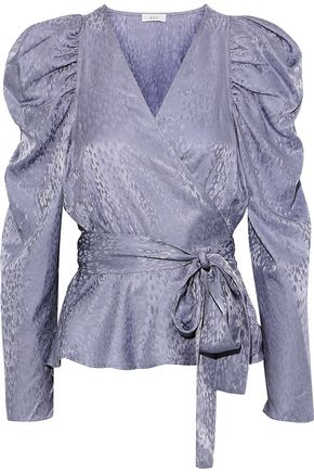 A.L.C. Palermo gathered silk-jacquard wrap blouse