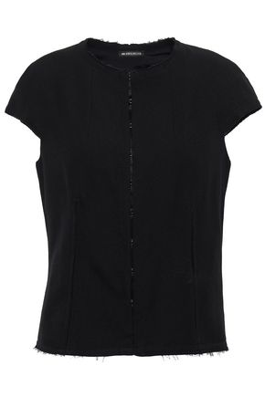 ANN DEMEULEMEESTER Frayed wool and cotton-blend twill top