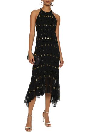 A.l.c Rosa Metallic Fil Coupé Silk-blend Georgette Midi Dress In Black