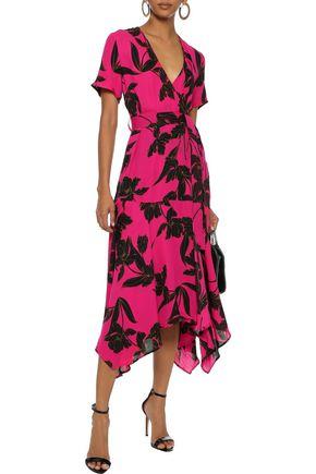 A.L.C. Cora printed silk crepe de chine midi wrap dress