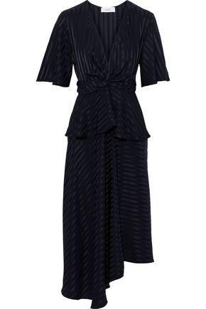 A.L.C. Twist-front silk-satin jacquard peplum midi dress